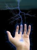 Mão e relâmpago Foto de Stock Royalty Free