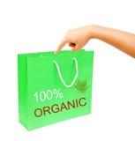 Mão e saco de papel verde da placa isolado no fundo branco Foto de Stock Royalty Free