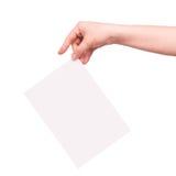 Mão e um cartão Imagens de Stock