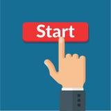 A mão empurra a ilustração lisa do vetor vermelho da tecla 'Iniciar Cópias' Foto de Stock Royalty Free