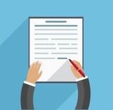 A mão enche o contrato, conceito do negócio no fundo azul em um estilo liso Fotografia de Stock