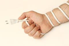 Mão, envolvida no fio branco Fotografia de Stock Royalty Free