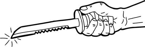 Mão esboçada que guarda a lâmina Imagem de Stock