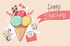 A mão esboçou a tipografia da rotulação do feliz aniversario como o cone de gelado, letra para o inseto, mercado, loja, artigos,  ilustração royalty free
