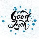 A mão esboçou a tipografia da rotulação do t-shirt da boa sorte Cotação inspirada tirada, citações inspiradores Fotografia de Stock