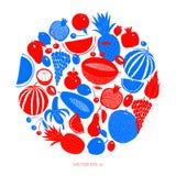 Mão escandinava molde tirado do projeto do fruto Gráfico monocromático Frutifica o fundo Estilo de Linocut Alimento saudável Veto ilustração stock