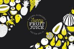 Mão escandinava molde tirado do projeto do fruto Gráfico monocromático Frutifica o fundo Estilo de Linocut Alimento saudável Veto ilustração do vetor