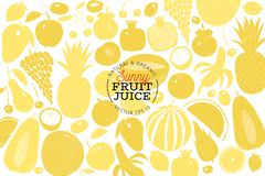 Mão escandinava molde tirado do projeto do fruto Gráfico monocromático Frutifica o fundo Estilo de Linocut Alimento saudável Veto ilustração royalty free