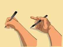 A mão escreve algo pela versão preta 1 da pena Foto de Stock Royalty Free