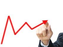 A mão escreve o gráfico Foto de Stock