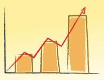 A mão escreve o gráfico acima Foto de Stock