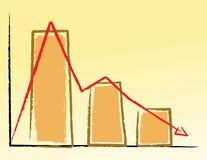 A mão escreve o gráfico para baixo Imagens de Stock