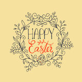 Mão escrita rotulando a Páscoa feliz para envolver-se com dois pássaros e ovos Molde do texto do cartão Fotografia de Stock