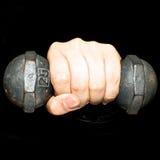 Mão esquerda e peso Fotografia de Stock Royalty Free
