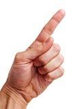 Mão esquerda que aponta o dedo. Imagem de Stock
