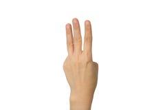 A mão está mostrando três dedos Imagem de Stock Royalty Free