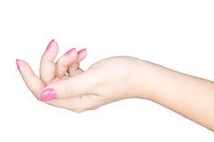 Mão fêmea bonita com pregos do tratamento de mãos Fotos de Stock Royalty Free
