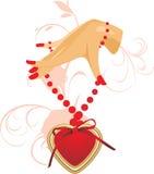 Mão fêmea com coração ilustração royalty free