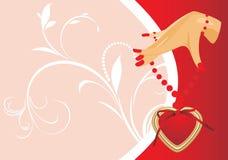 Mão fêmea com coração. Cartão dos Valentim ilustração royalty free