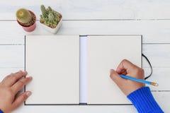 Mão fêmea com escrita da camisa da mola algo com lápis Imagens de Stock