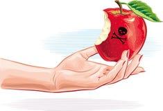 Mão fêmea com a maçã envenenada apenas mordida ilustração do vetor