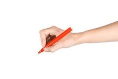 Mão fêmea com um marcador Foto de Stock