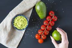 A mão fêmea guarda o cal Guacamole mexicano latinamerican tradicional do molho na bacia e em ingredientes cerâmicos no fundo escu fotos de stock