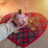 A mão fêmea guarda o mealheiro para a sorte no fundo de moedas do chocolate foto de stock royalty free