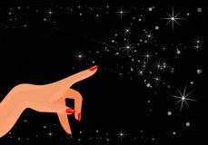 Mão fêmea mágica que specifing Imagem de Stock Royalty Free