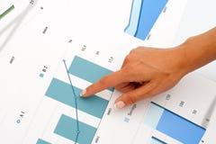 Mão fêmea que aponta em gráficos de negócio. Foto de Stock