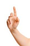Mão fêmea que empurra um botão Imagem de Stock Royalty Free