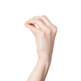 Mão fêmea que faz um gesto italiano do argumento isolado imagens de stock royalty free