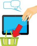 Mão fêmea que guarda o PC da tabuleta. Loja em linha ilustração stock