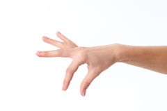 A mão fêmea que mostra o gesto com os dedos é isolada em um fundo branco Imagens de Stock