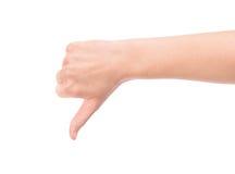 O polegar entrega para baixo Imagem de Stock Royalty Free