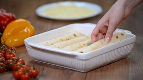 Mão fêmea que põe enchiladas no prato de cozimento Preparando enchiladas caseiros da galinha filme