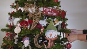 Mão fêmea que pendura ornamento sazonais em uma árvore de Natal com luzes video estoque