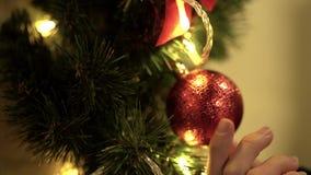 A mão fêmea toca no brinquedo vermelho do Natal que pendura no fim da árvore acima video estoque