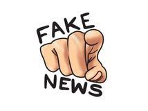 Mão falsificada da notícia que aponta o ilustração dos desenhos animados ilustração do vetor