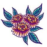Mão floral flores tiradas do vintage Flores e folhas alaranjado-roxas fabulosas do verde em um fundo branco tropical ilustração stock