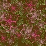 A mão floral sem emenda tirada detalhou o teste padrão, ramalhete das flores Imagens de Stock