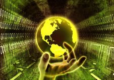 Mão global da informação ilustração stock