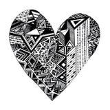 Mão gráfica abstrata do coração tirada com símbolos Amor ilustração stock
