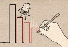 Mão grande - escalando para baixo ilustração royalty free