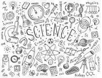 mão gravada tirada no estilo velho do esboço e do vintage fórmulas e cálculos científicos na física e na matemática Foto de Stock Royalty Free