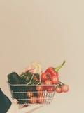 A mão guarda o carrinho de compras com vegetais foto de stock royalty free