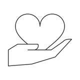 A mão guarda o esboço do amor do coração Fotos de Stock