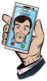 A mão guarda um telefone com uma chamada entrante de um amigo Fotos de Stock