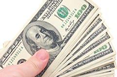 Mão humana com dinheiro Imagens de Stock Royalty Free
