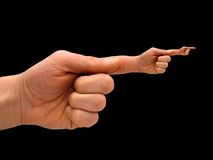 Mão humana com mão-dedo po Fotografia de Stock Royalty Free